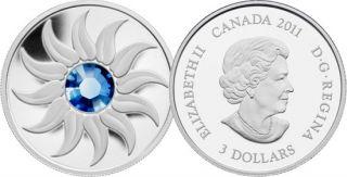 2011 - $3 - Fine Silver Coin - September Birthstone (Sapphire)