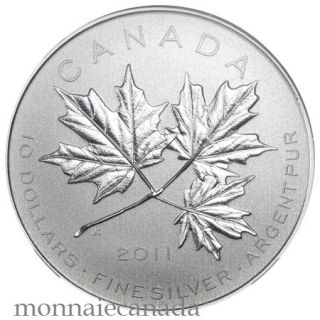 2011 - $10 Maple Leaf Forever - 1/2 oz Fine Silver Coin