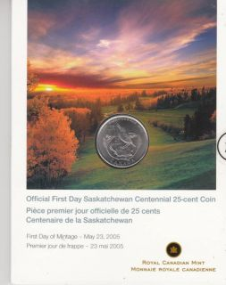 2005 - 25-cent coin official first day - Saskatchewan centennial