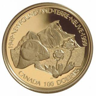 1999 Canada $100 Dollars Gold 14 K Coin - Symbols of Newfoundland
