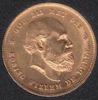 Netherlands 1879 - 10 Gulden Gold Coin - 6.73 gr. .900 Gold .1947 oz AGW