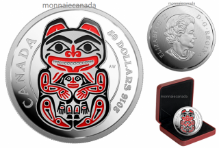 2016 - $50 - 5 oz. Fine Silver Coin with Enamel – Mythical Realms of the Haida Series: The Bear