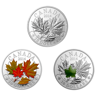 2014 $20 Majestic Maple Leaves Fine Silver - 3 Coin Set - No Tax