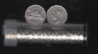 1950 Canada 5 Cents - Roll 40 Coins in Plastic Tube