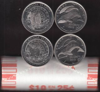 2013 Canada 25 Cents Arctic Expedition / Life North BU ROLL 40 Coins UNC