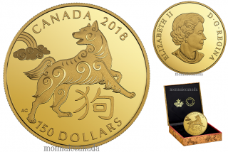 2018 - $150 - 18-karat Gold Coin - Year of the Dog