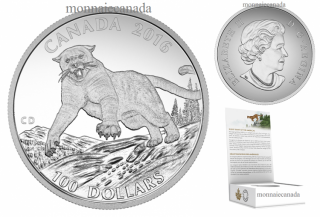 2016 - $100 for $100 - Fine Silver Coin - Cougar