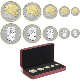 2014 - Fine Silver Fractional Set - Maple Leaf Gold Plated