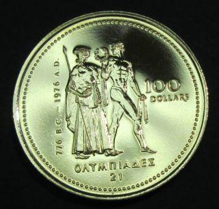 1976 Canada $100 Gold Olympic - 14 K - 1/4 Troy Oz