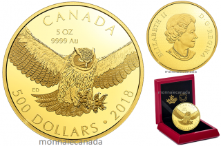 2018 - $500 -  5 oz. Pure Gold Coin - Great Horned Owl