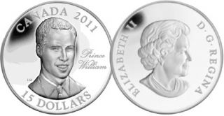 2011 - $15 - Sterling Silver Coin - H.R.H. Prince William of Wales