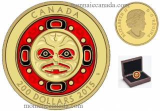 2015 - $200 - 99.999% Pure Gold Enameled Coin – Singing Moon Mask
