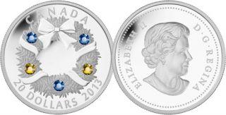 2013 - $20 - 1 oz. Fine Silver Coin - Holiday Wreath
