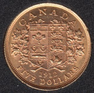 1912 Canada $5 Dollars Gold Coin