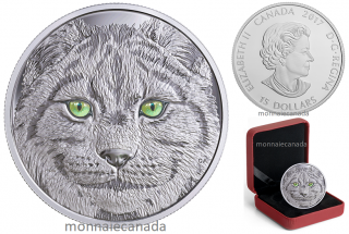 2017 - $15 - Pure Silver Glow-in-the-Dark Coin - In The Eyes Of The Lynx