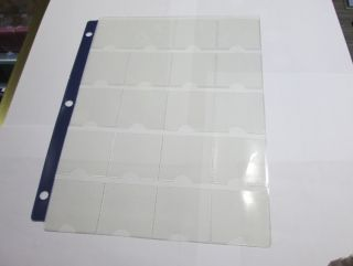 1 Page  for 2x2 cardboard with  20 PROTECTIVE POCKETS PER PAGE WITH BLUE STRIP