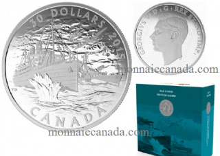 2015 - $30 - 2 oz. Fine Silver Coin - Canada's Merchant Navy in the Battle of the Atlantic
