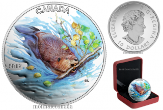 2017 - $10 - 1/2 oz. Pure Silver Coloured Coin - Iconic Canada: The Beaver
