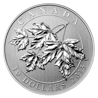 2015 - $10 - 1/2 oz. Fine Silver Coin - Canadian Maple Leaves