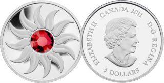 2011 - $3 - Fine Silver Coin - July Birthstone (Ruby)