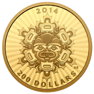 2014 - $200 - 1/2 oz. Pure Gold Coin - Interconnections: Land - The Beaver