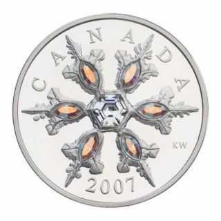 2007 - $20 - Canada Iridescent Crystal Snowflake Sterling Silver coin