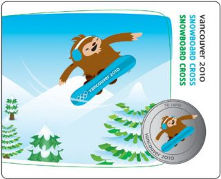 2010 - 50 Cents - Vancouver – Snowboard Cross Mascot Collector Card