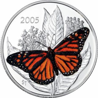 2005 Butterfly Colorized Monarch 50ct Silver