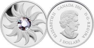 2011 - $3 - Fine Silver Coin - june Birthstone (alexandrite)