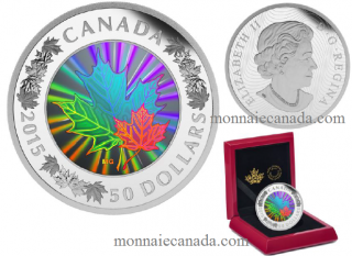 2015 - $50 - 5 oz. Fine Silver Hologram Coin - Lustrous Maple Leaves