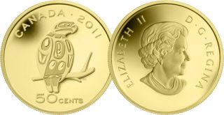 2011 - 50 Cents - 1/25 Ounce Pure Gold Coin - Peregrine Falcon