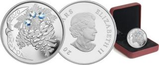 2010 - $20 - Fine Silver Coin - Moonlight Holiday Pine Cones
