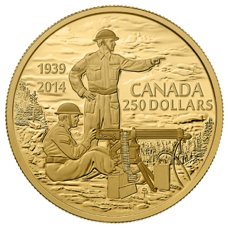 2014 - $250 - 2 oz. Pure Gold Coin - Canadian Machine Gunner in Training