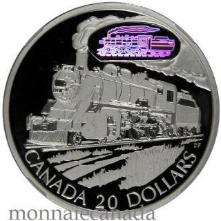 2002 Canada $20 Dollars Sterling Silver Transportation - D10 Locomotive