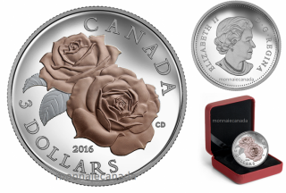 2016 - $3 - Pure Silver Coin with Selective Rose Gold Plating – Queen Elizabeth Rose