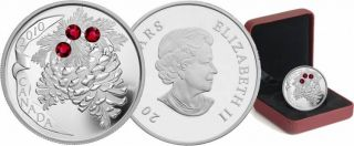 2010 - $20 - Fine Silver Coin - Ruby Holidays Pine Cones - TAX Exempt