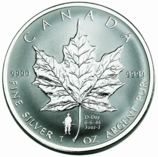 2004 - $5 1 oz silver maple D-Day - Original RCM Mint