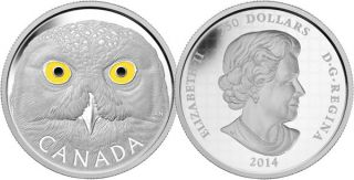 2014 - $250 - Fine Silver One Kilogram Coin - Snowy Owl