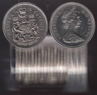 1976 Canada 50 Cents - Half Dollar - BU ROLL 23 Coins - UNC