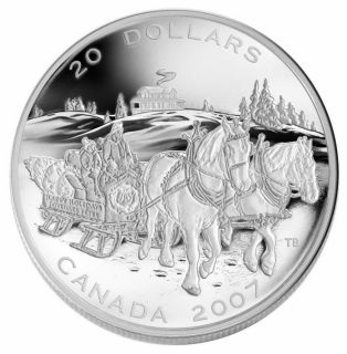 2007 $20 Fine Silver Coin - Holiday Sleigh Ride - TAX Exempt
