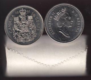 1991 Canada 50 Cents - Half Dollar - BU ROLL 25 Coins - UNC
