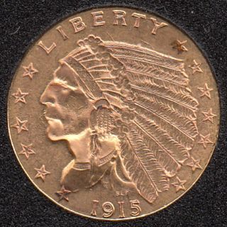 US 1915 Indian Head $2.50 Quarter Eagle Gold Coin