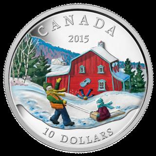 2015 - $10 - 1/2 oz. Fine Silver Coin - Winter Scene