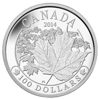 2014 - $100 - 10 oz. Fine Silver Coin - Majestic Maple Leaves
