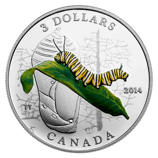 2014 - $3 - 1/4 oz. Fine Silver Coin - Animal Architects: Caterpillar and Chrysalis