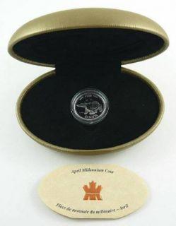 1999 - 25 Cents - April millennium coin sterling silver