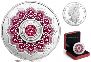 2018 - $5 - January Birthstone - Pure Silver Coin made with Swarovski® Crystal