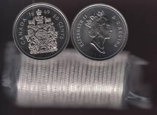 1999 Canada 50 Cents - Half Dollar - BU ROLL 25 Coins - UNC
