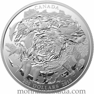 2015 Canada $200 for $200 Dollars Fine Silver - Coastal Waters of Canada - No Tax