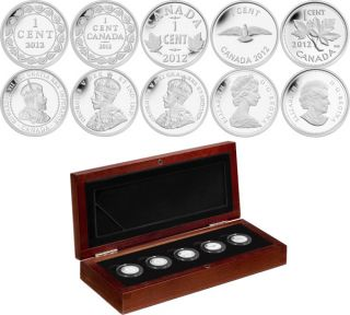 2012 - 1 Cent - Farewell To The Penny - Fine Silver 5 Penny Set